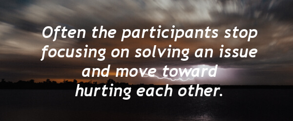 Often the participants stop focusing on solving an issue and move toward hurting each other.
